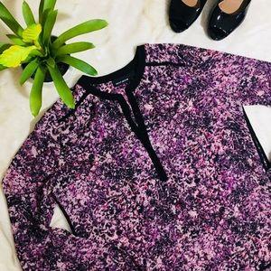 DKNY Jeans Floral Sheer Blouse S Purple & Black